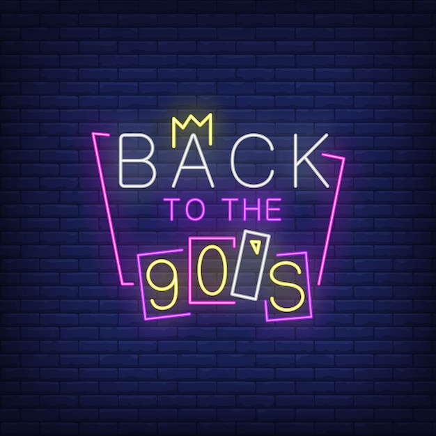 Luminoso ritorno alle lettere al neon degli anni novanta. Vettore gratuito