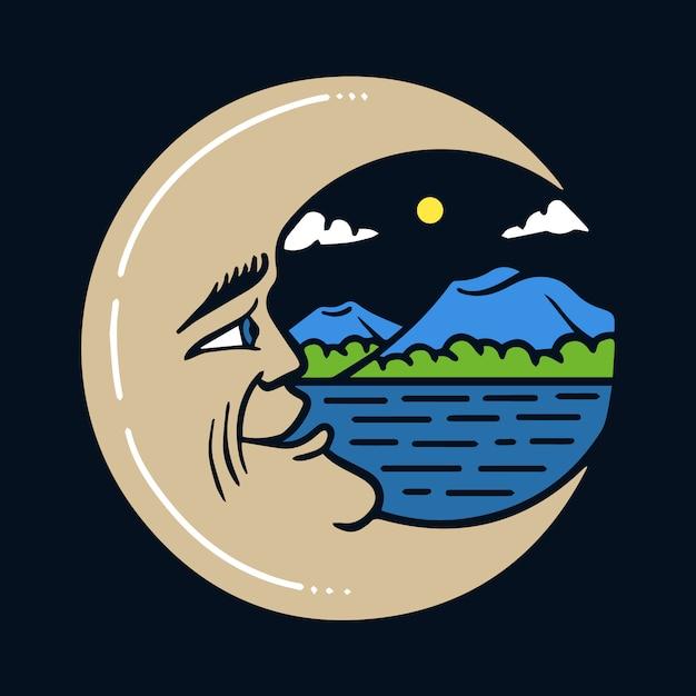 Luna a mezzaluna disegnata a mano con l'illustrazione di mountain view Vettore Premium