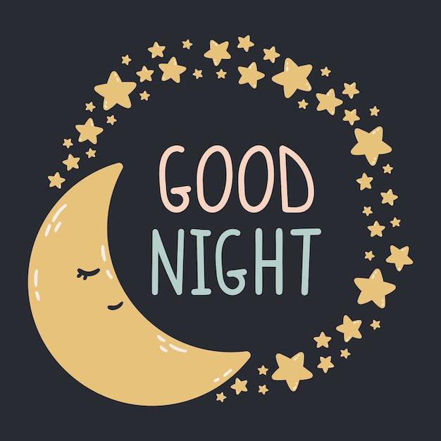 Luna addormentata con stelle intorno su uno sfondo scuro. illustrazione della buona notte stampa per baby room, biglietti di auguri, magliette e vestiti per bambini e neonati, abbigliamento da donna. Vettore Premium