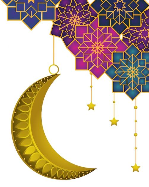 Luna calante con stelle pendenti Vettore Premium