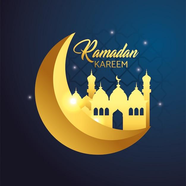 Luna con castello alla celebrazione di ramadan kareem Vettore gratuito