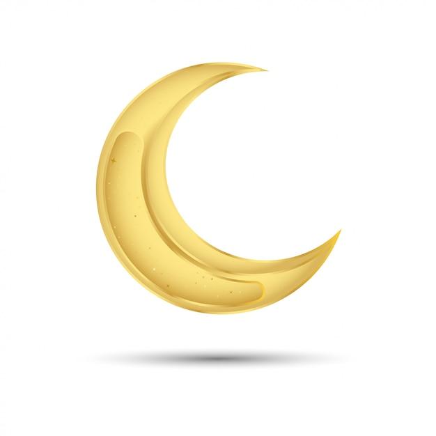 Luna d'oro per la festa musulmana del mese sacro del ramadan kareem Vettore Premium