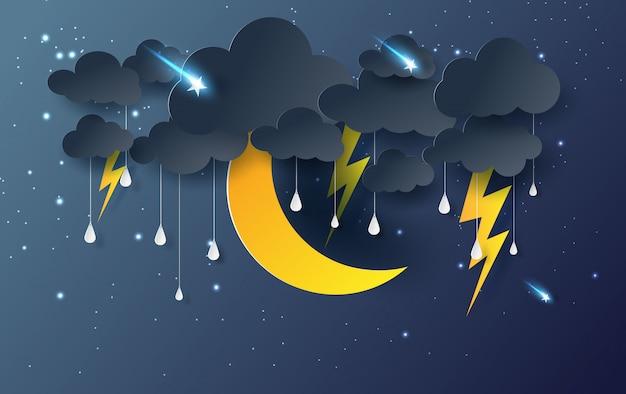 Luna e stelle con pioggia mistica cielo notturno Vettore Premium