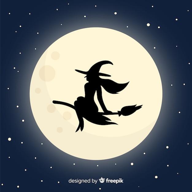 Luna e strega sfondo Vettore gratuito