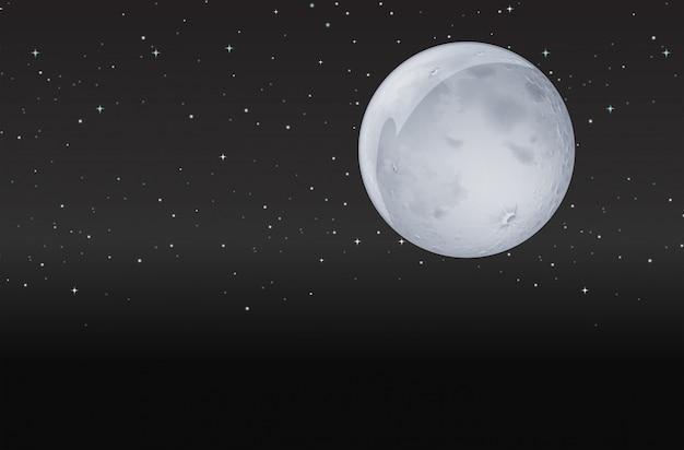 Luna nella notte oscura Vettore gratuito