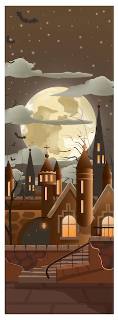 Luna piena tra le nuvole scure in città illustrazione Vettore gratuito