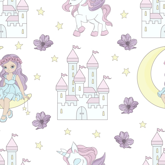 Luna principessa fiaba senza cuciture Vettore Premium