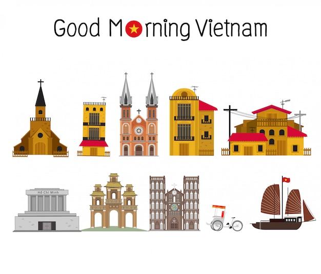 Luoghi d'interesse del vietnam Vettore Premium