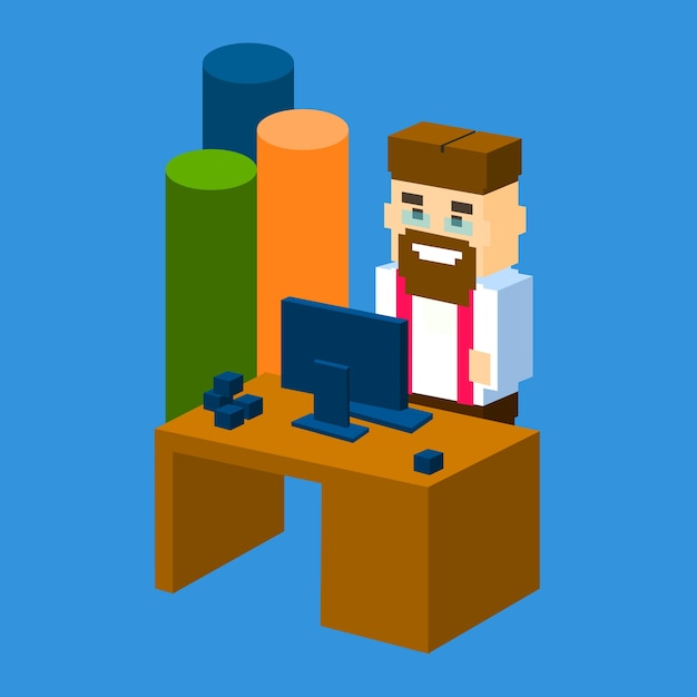 Luogo di lavoro dell'uomo di affari Vettore Premium