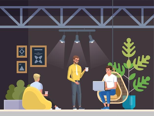 Luogo di lavoro moderno, caffetteria Vettore Premium