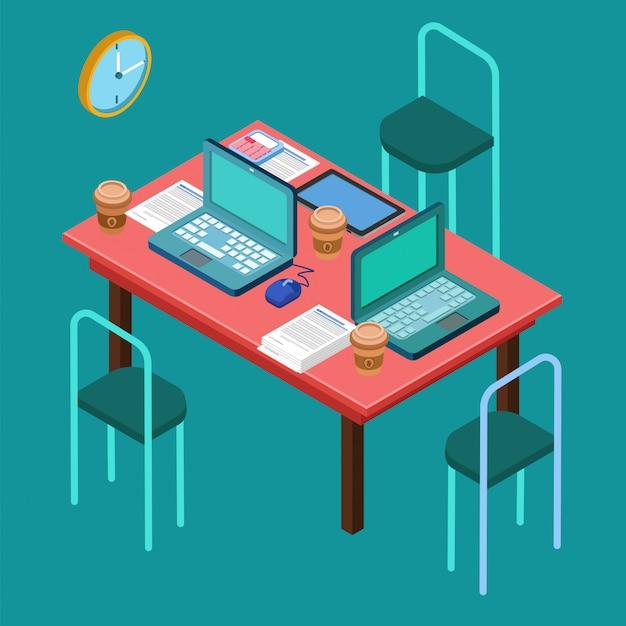 Luogo di lavoro ufficio area di lavoro moderna. incontro d'affari. lavoro di gruppo. processo di lavoro. concetto isometrica. computer portatile, computer, tablet Vettore Premium