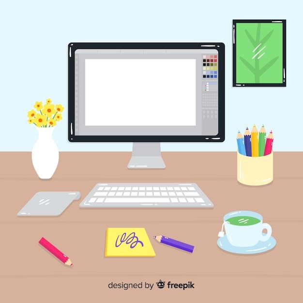 Luogo di progettazione grafica Vettore gratuito