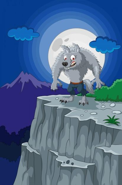 Lupo mannaro dei cartoni animati sulla scogliera scaricare