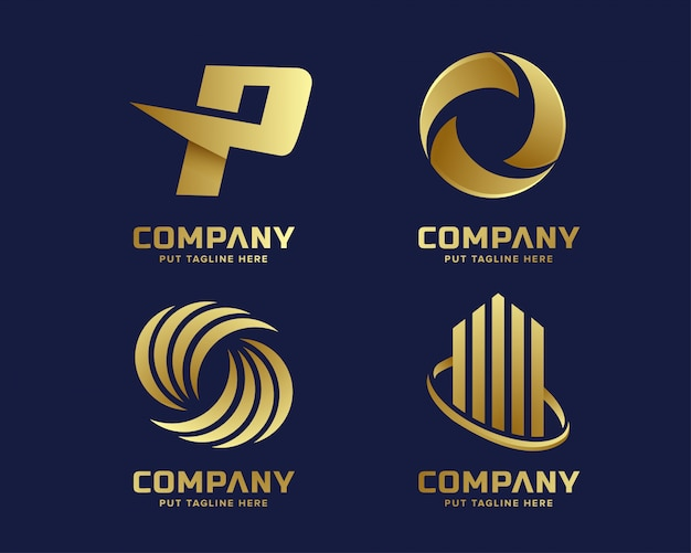 Lusso d'oro business e modello logo elegante con forma astratta Vettore Premium