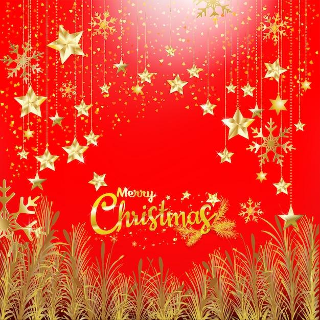 Buon Natale Glitter.Lusso Glitter Oro Buon Natale E Felice Anno Nuovo Con Sfondo Rosso