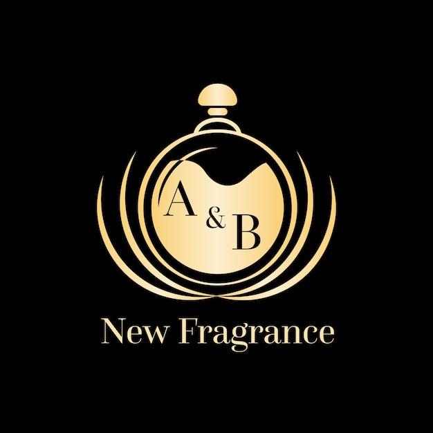 Lussuoso logo con profumo dorato Vettore gratuito