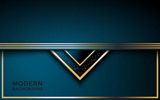 Lussuoso sfondo blu scuro con combinazione di linee dorate. Vettore Premium