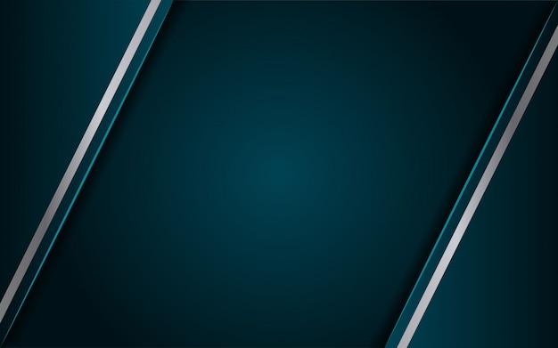 Lussuoso sfondo blu scuro con una combinazione di linea argento metallico in stile 3d Vettore Premium