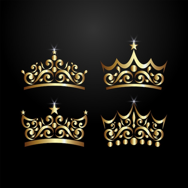 Luxury crown logo Vettore Premium