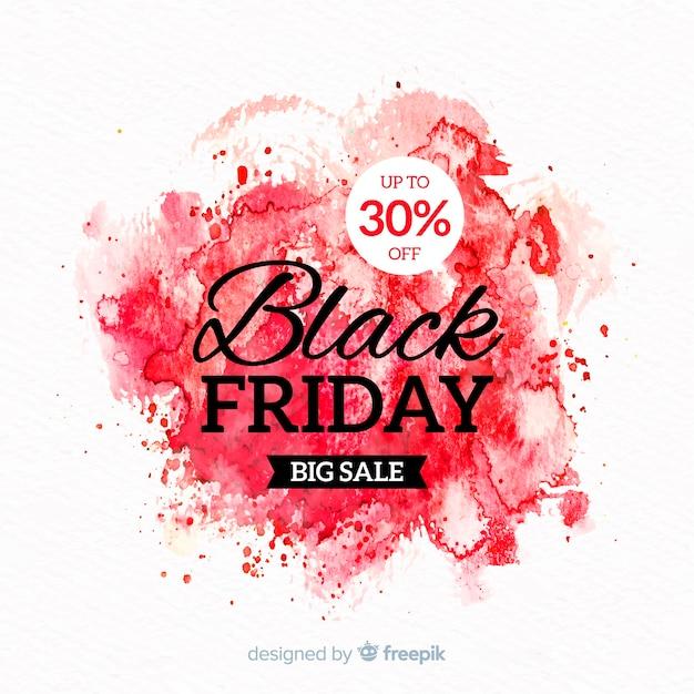Macchia dell'acquerello venerdì nero banner rosso Vettore gratuito