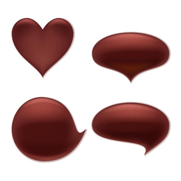Macchia di cioccolato fondente macchia macchia set. cuore e forme rotonde curve astratte. Vettore Premium