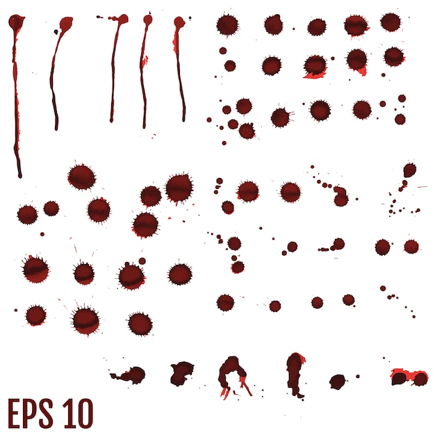 Macchia di sangue, gocce rosse, schizzi di arte dipinta Vettore Premium