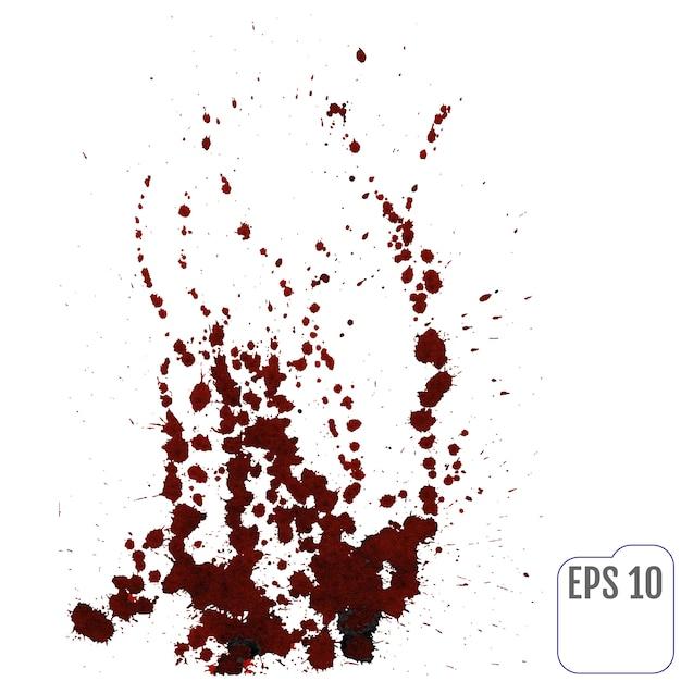 Macchia di sangue schizzato su sfondo bianco. illustrazione vettoriale Vettore Premium
