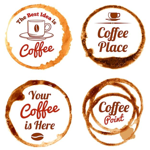 Macchie di caffè vector loghi e set di etichette Vettore Premium