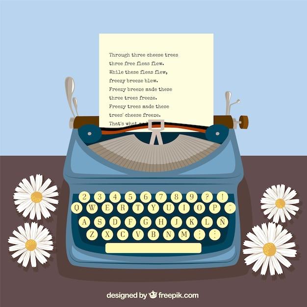 Macchina da scrivere e margherite Vettore gratuito