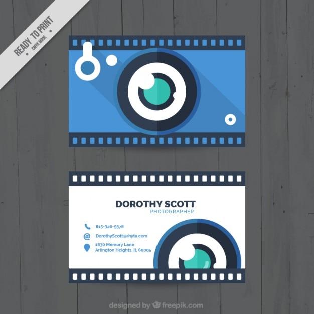 Macchina fotografica blu, biglietto da visita Vettore gratuito