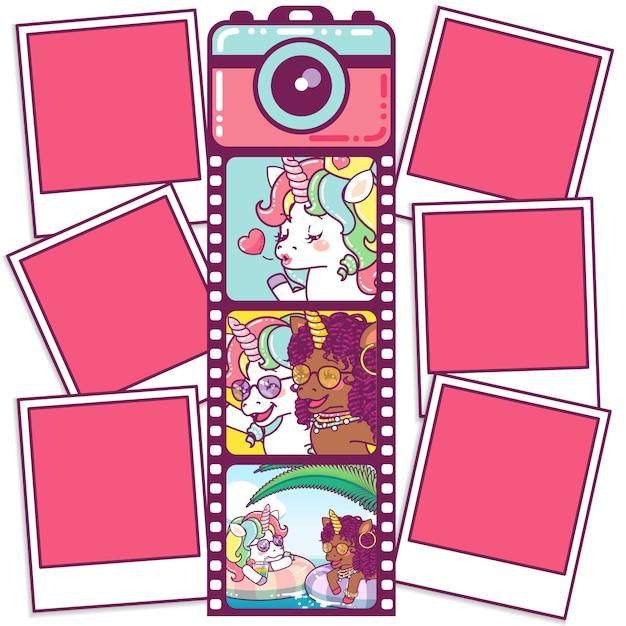 Macchina fotografica carina con unicorni su un rotolo di pellicola Vettore Premium