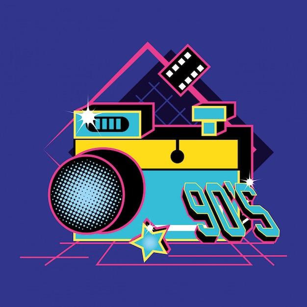 Macchina fotografica degli anni novanta retrò Vettore Premium