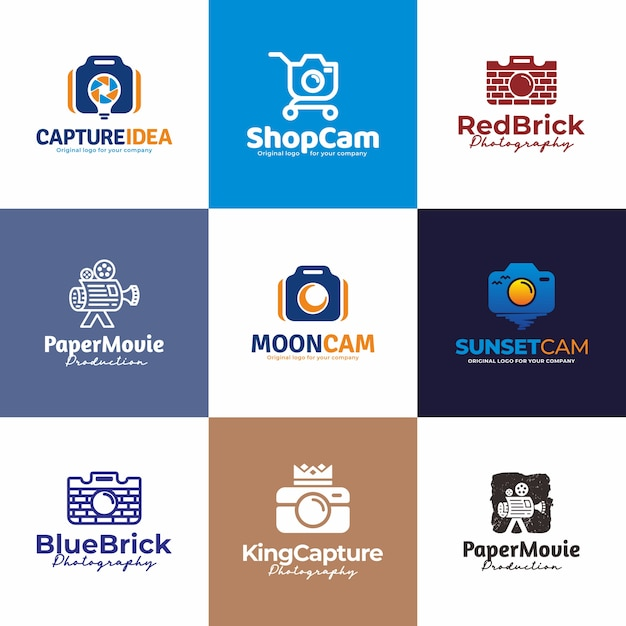 Macchina fotografica, fotografia logo design. collezione di design unico logo creativo. Vettore Premium