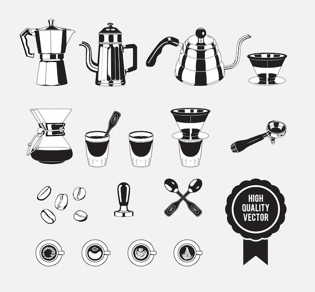 Macchina per caffè manuale vintage in bianco e nero Vettore Premium