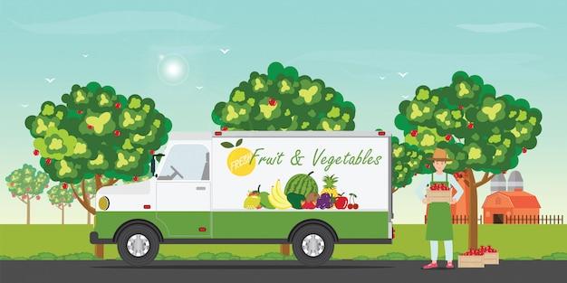 Macchina per la consegna di frutta fresca con gli agricoltori Vettore Premium
