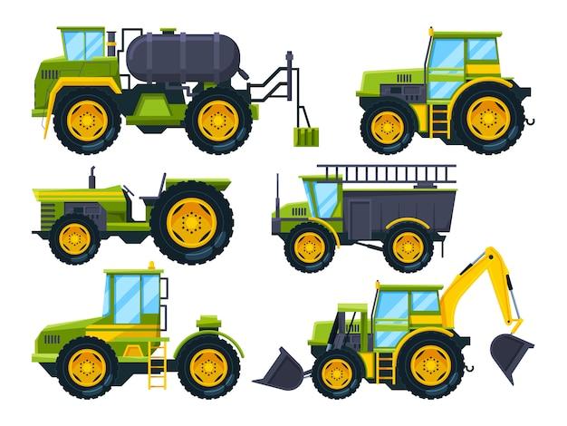 Macchinari agricoli. immagini a colori in stile cartone animato Vettore Premium