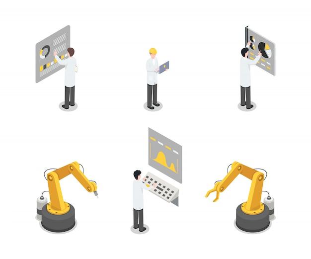 Macchinari industriali, ingegneri e set di attrezzature. assemblaggio autonomo, produzione dipendenti dipendenti Vettore Premium