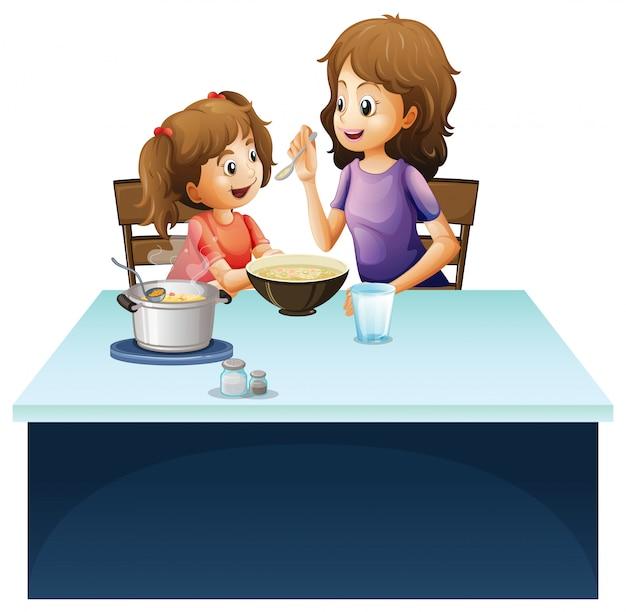 Madre che allatta ragazzino sul tavolo Vettore gratuito