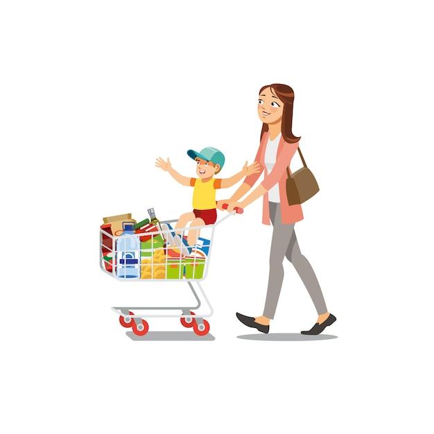 Madre che effettua gli acquisti con son cartoon vector Vettore Premium