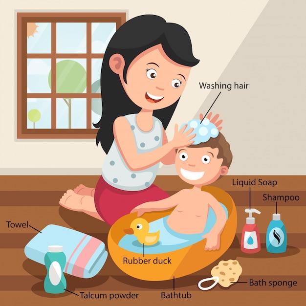 Madre che lava i capelli di suo figlio con amore Vettore Premium