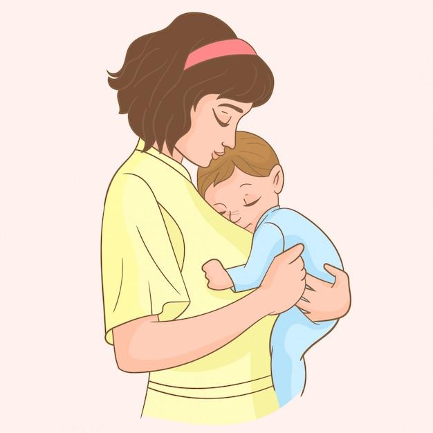 Madre con il suo piccolo bambino Vettore Premium