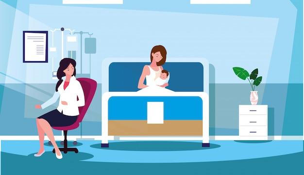 Madre con neonato nella stanza di ricovero in barella Vettore Premium