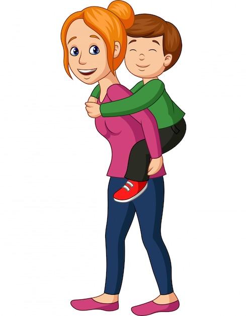 Madre dando il suo figlio sulle spalle Vettore Premium