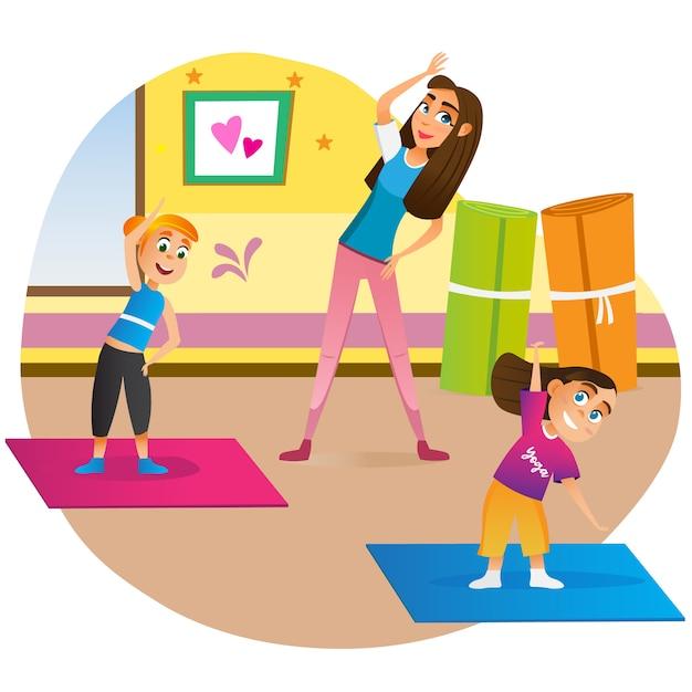 Madre del fumetto con i bambini che fanno esercizio sulla stuoia Vettore Premium