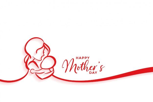 Madre e bambino silhouette design per felice festa della mamma Vettore gratuito