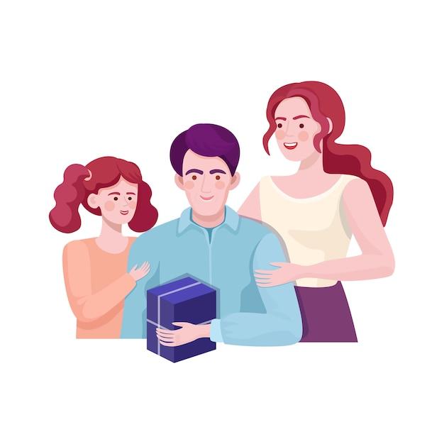 Madre e figlia che danno regalo al padre. buon compleanno, festa del papà. Vettore Premium