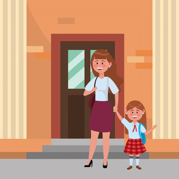 Madre e figlia vanno a scuola Vettore gratuito