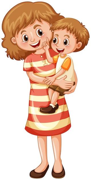 Madre e figlio su sfondo bianco Vettore gratuito