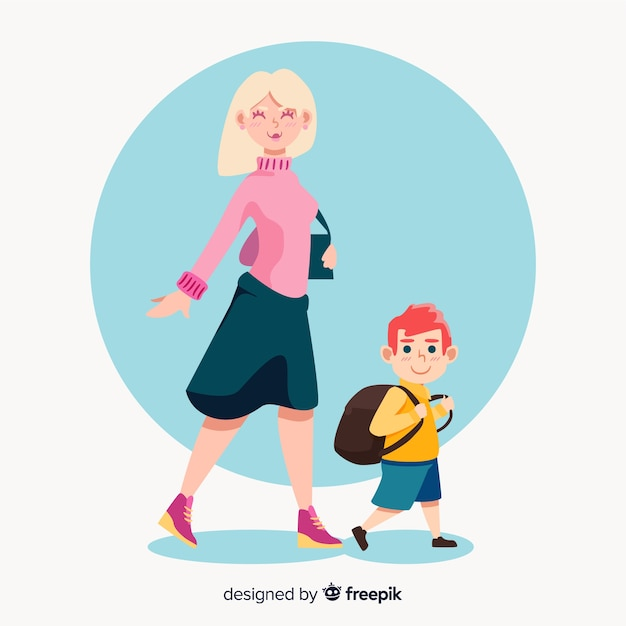 Madre e figlio sulla via del ritorno a scuola Vettore gratuito
