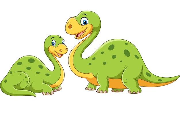 Madre felice con la posa del dinosauro del bambino Vettore Premium